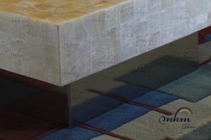 Detalle de base inox para mesa de Onix