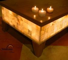 Detalle de tapa y pata para mesas de onix