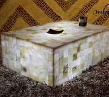 Mesa rectangular de onix - Dimensiones: 80 x 60 x 30 cm - Iluminación bajo consumo incluida.