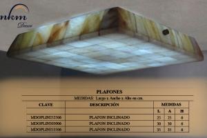 Plafon inclinado de Onix - Dimensiones: 35 x 35 x 6 cm - Solicite información sobre la medida que desee. Iluminación bajo consumo incluida
