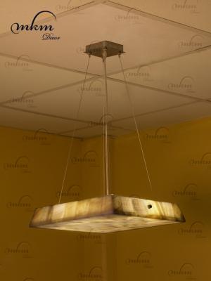 Lampara cuadrada de Onix - Dimensiones: 35 x 35 x 6 cm - Solicite información sobre la medida que desee. Iluminación bajo consumo incluida
